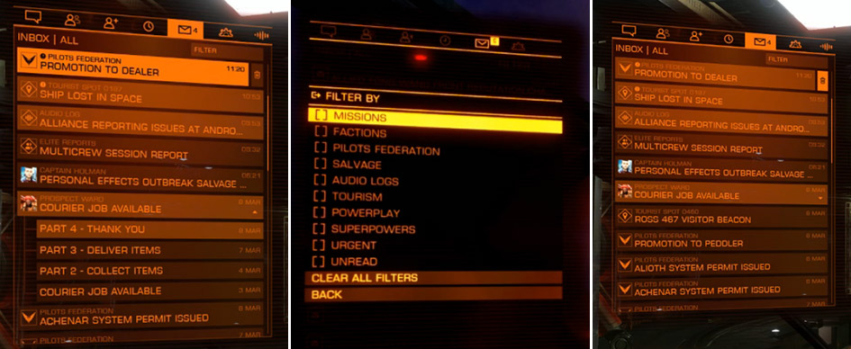 Elite Dangerous new inbox